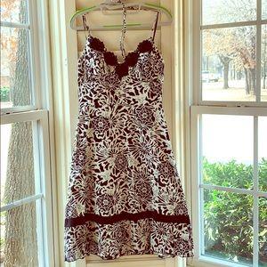 Black and White Floral Halter Spring Dress.